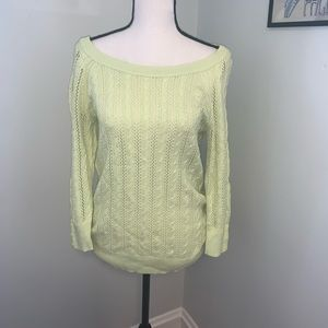 American Eagle Lime Green Cable Knit Sweater
